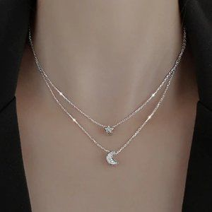 *925 Sterling Silver Diamond Moon Star Necklace